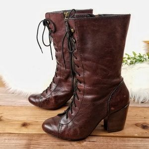 Fossil Shay Brown Granny Lace Up Zip Boots Heel 8